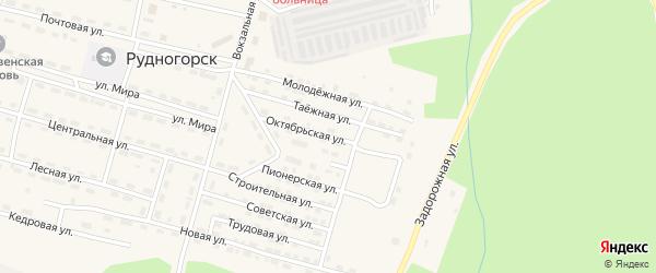 Октябрьская улица на карте поселка Рудногорска с номерами домов