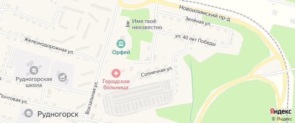 Солнечная улица на карте поселка Рудногорска с номерами домов
