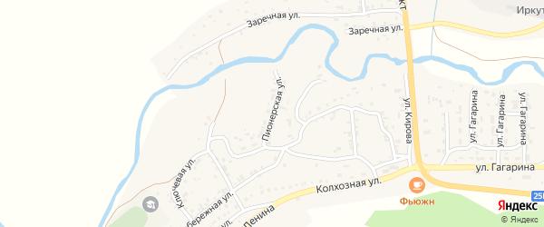Пионерская улица на карте поселка Бохан Иркутской области с номерами домов