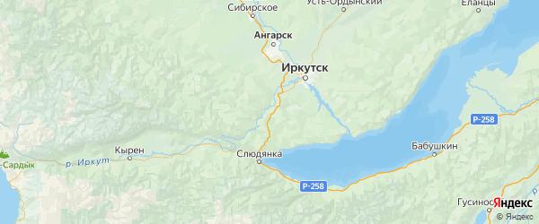 Карта Шелеховский района Иркутской области с городами и населенными пунктами