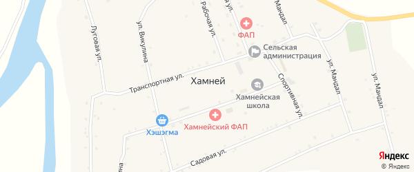 Местность Бугариктуй на карте села Хамнея с номерами домов