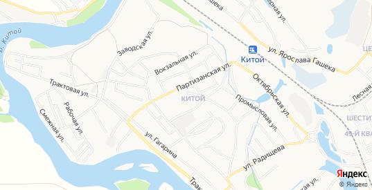Карта микрорайона Китой в Ангарске с улицами, домами и почтовыми отделениями со спутника онлайн