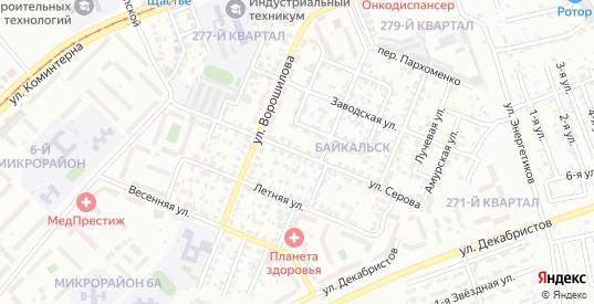 Улица Серова в микрорайоне Байкальск в Ангарске с номерами домов на карте. Спутник и схема онлайн