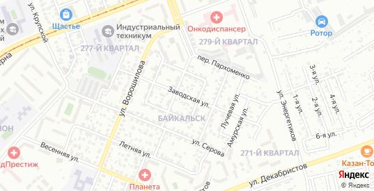 Заводская улица в микрорайоне Байкальск в Ангарске с номерами домов на карте. Спутник и схема онлайн