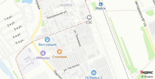 Улица Тельмана в микрорайоне Майск в Ангарске с номерами домов на карте. Спутник и схема онлайн