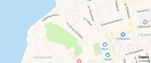 Улица 50 лет Октября на карте поселка Игирма Иркутской области с номерами домов