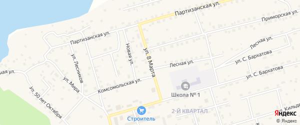 Улица 8 Марта на карте поселка Новой Игирмы с номерами домов