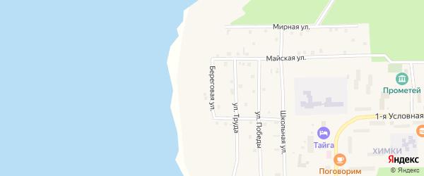 Береговая улица на карте Речного микрорайона с номерами домов