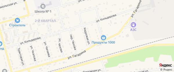 Кедровая улица на карте поселка Новой Игирмы с номерами домов