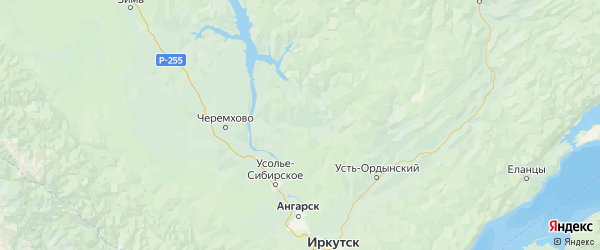 Карта Боханского района Иркутской области с городами и населенными пунктами