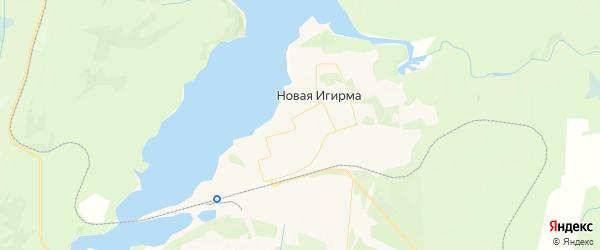 Карта поселка Новой Игирмы Иркутской области с районами, улицами и номерами домов