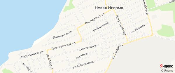 Карта Речного микрорайона поселка Новой Игирмы в Иркутской области с улицами и номерами домов