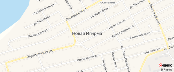 Малиновая улица на карте поселка Новой Игирмы с номерами домов