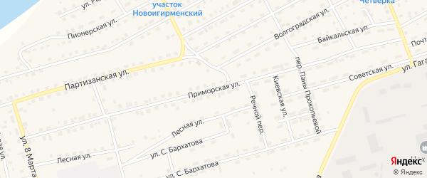 Приморская улица на карте поселка Новой Игирмы с номерами домов
