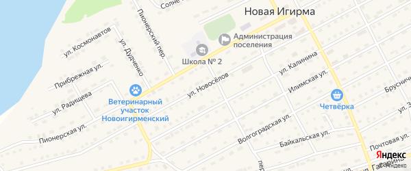 Улица Новоселов на карте поселка Новой Игирмы с номерами домов