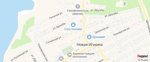 Солнечная улица на карте поселка Новой Игирмы с номерами домов