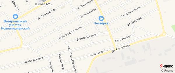 Байкальская улица на карте поселка Новой Игирмы с номерами домов