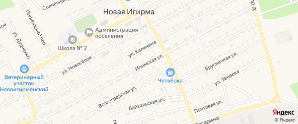 Илимская улица на карте поселка Игирма Иркутской области с номерами домов