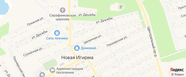 Целинная улица на карте поселка Новой Игирмы с номерами домов