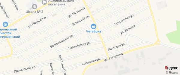 Байкальский переулок на карте поселка Новой Игирмы с номерами домов