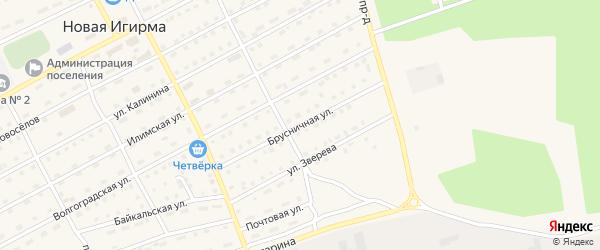 Брусничная улица на карте поселка Новой Игирмы с номерами домов