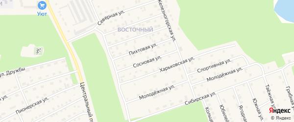 Сосновая улица на карте Восточного микрорайона с номерами домов