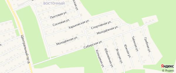 Молодежная улица на карте Восточного микрорайона с номерами домов