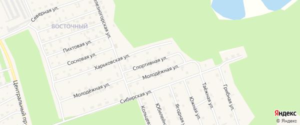 Спортивная улица на карте Восточного микрорайона с номерами домов