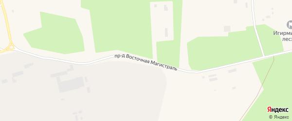 Проезд Восточная магистраль на карте поселка Новой Игирмы с номерами домов