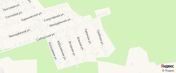 Таежная улица на карте Восточного микрорайона с номерами домов