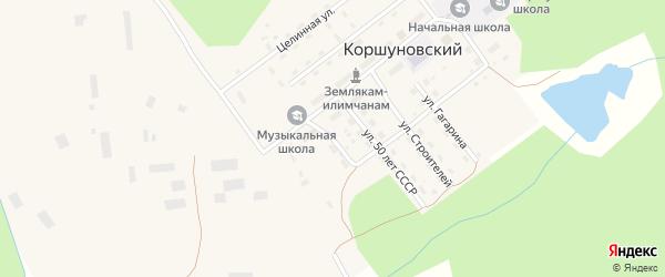 Лесной переулок на карте Коршуновский поселка Иркутской области с номерами домов