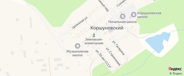 Улица Ленина на карте Коршуновский поселка Иркутской области с номерами домов