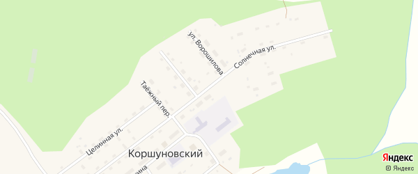 Солнечная улица на карте Коршуновский поселка Иркутской области с номерами домов