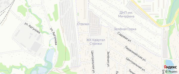 Центральная улица на карте квартала Стрижей Иркутской области с номерами домов