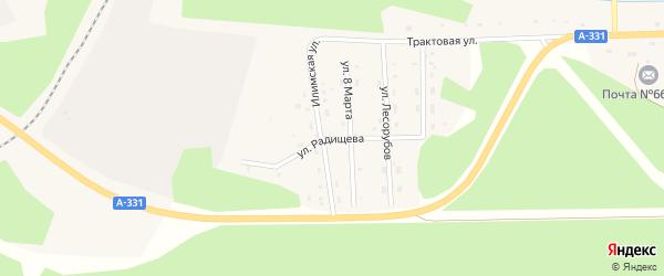 Улица Радищева на карте поселка Хребтовой с номерами домов