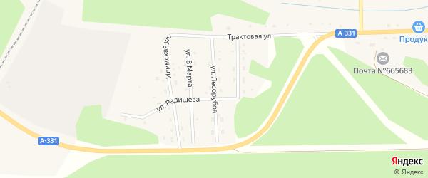 Улица Лесорубов на карте поселка Хребтовой с номерами домов