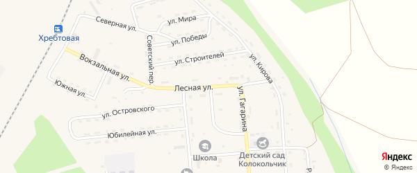 Лесная улица на карте поселка Хребтовой с номерами домов