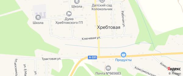 Ключевая улица на карте поселка Хребтовой с номерами домов