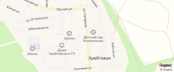 Улица Калинина на карте поселка Хребтовой с номерами домов