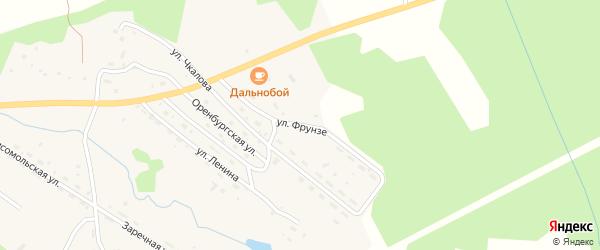 Улица Фрунзе на карте поселка Хребтовой с номерами домов