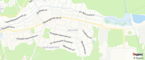 Карта Лесной микрорайона города Иркутска в Иркутской области с улицами и номерами домов