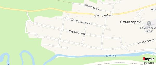 Кубанская улица на карте поселка Семигорска Иркутской области с номерами домов