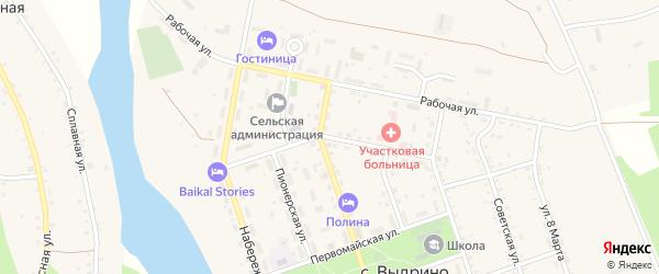 Авангардная улица на карте села Выдрино Бурятии с номерами домов