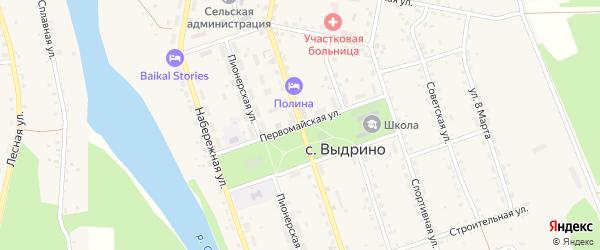 Первомайская улица на карте села Выдрино Бурятии с номерами домов
