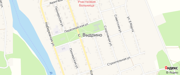 Дачная улица на карте села Выдрино Бурятии с номерами домов
