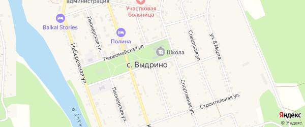 Комсомольская улица на карте села Выдрино Бурятии с номерами домов