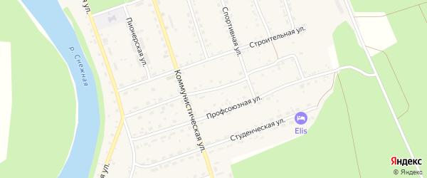 Коммунальная улица на карте села Выдрино Бурятии с номерами домов