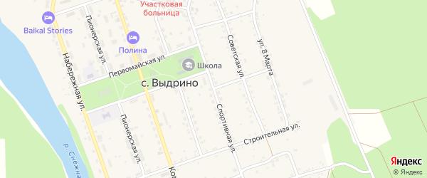 Спортивная улица на карте села Выдрино Бурятии с номерами домов