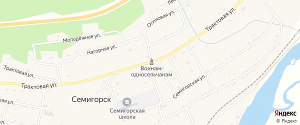 Трактовая улица на карте поселка Семигорска Иркутской области с номерами домов