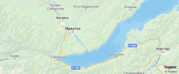Карта Иркутского района Иркутской области с городами и населенными пунктами